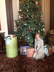 Tina Shakour with some of the gifts provided by the San Francisco Elks Lodge