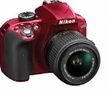 Nikon D3300 DSLR Camera Red with 18-55mm Lens