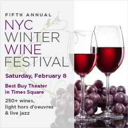 NY Wine Festivals presents the NYC Winter Wine Festival: 250+ wines, light fare & live jazz on stage.