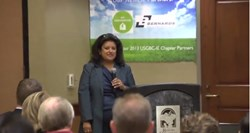 Anna Ferrera speaking at the Prop 39 event in Rancho Cucamonga, CA