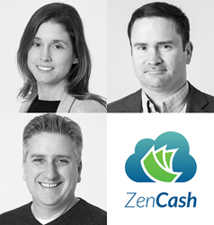 ZenCash adds new executives (clockwise from top left) Anna Van Sligtenhorst, Phil Ayres and Steve Fontaine.