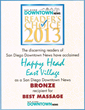 Happy Head Massage wins bronze award for best massage in San Diego