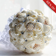Attractive White Rose with Pearl and Rhinestone Wedding Bridal Bouquet
