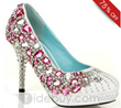 Brilliant White And Pink Crystal Prom Shoes