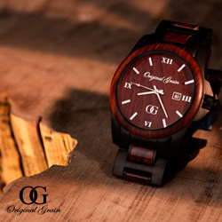 Original Grain Men's Black and Rosewood Watch