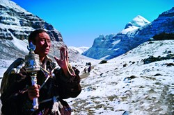 Tibetans are doing pilgrimage trek around the holy Mountain Kailash.