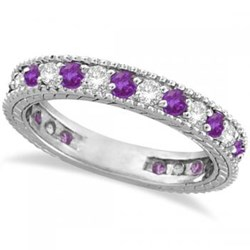 Amethyst & Diamond Eternity Ring Band 14k White Gold (1.08ct)