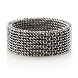 His or Hers Stainless Steel Mesh Ring