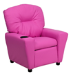 Flash Furniture Contemporary Hot Pink Vinyl Kids Recliner with Cup Holder BT-7950-KID-HOT-PINK-GG