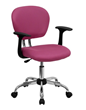 Flash Furniture Mid-Back Pink Mesh Task Chair with Arms and Chrome Base H-2376-F-PINK-ARMS-GG