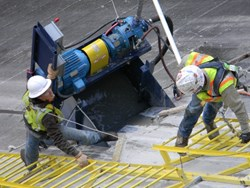 Slots in Dam by Bluegrass Concrete Cutting Specialists