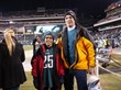Nick and his father on the the field at the Philadelphia Eagles Playoff game against the New Orleans Saints