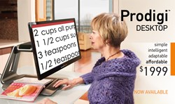 photo of a lady using the Prodigi Desktop to read a recipe