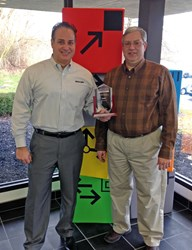 Balluff Object Detection Marketing Managers, Shawn Day and Jack Moermond, proudly displaying their award