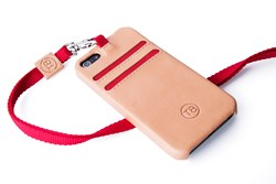 T8 STORM iPhone 5S wallet case in tan leather with red trim