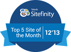 Sitefinity Top 5 Site of the Month Award for December 2013