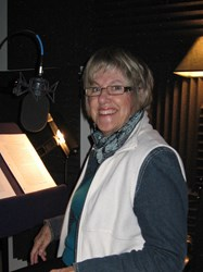 "Recording environmental and cultural audiobook, ""The Land: Our Gift and Wild Hope,"" at Brook Forest Voices Studio."