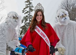 National Cherry Queen Meg Howard with two abominable Suttons Bay friends