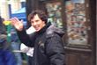 Benedict Cumberbatch waves to fans