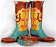 The Jackson, Wyoming-based WDC event features Western decorative arts such as these boots and belt by Lisa Sorrell.