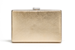 Jill Milan Art Deco Clutch in brushed gold with silver trim.