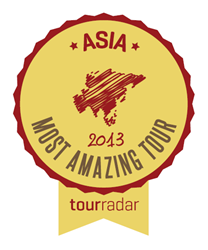 Badge given to Free and Easy Traveler from Tour Radar for having the Best Tour in Asia