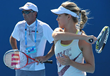 Eugenie Bouchard practicing at Australian Open with Coach Nick Saviano