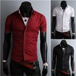3-Ruler Men's Cheap Crewneck Long Sleeves Two-Tone Color Shirt-Black and Beige