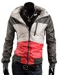 3-Ruler Bestseller Men's Color Block Deep Grey/Gray Beige Red Thin Jacket Outerwear with Hood