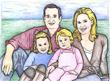 Cruz Family colored pencil rendering.