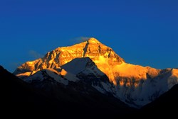 Mt. Everest is extremely beautiful in the sunset.