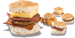 Loaded biscuit sandwich, chicken tender biscuit sandwich, country ham and cheesy egg biscuit sandwich, sausage biscuit sandwich, country ham biscuit sandwich