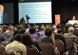 Opening-day plenary talks draw large audiences to hear high-level speakers; above, a speaker at SPIE Advanced Lithography 2013