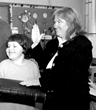 Suzanne Mack with her son Kerry at her swearing in to the Jersey City Board of Education over 18 years ago.