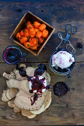 "Featuring some of the best goat cheese to come out of the Willamette Valley from Portland's own, Portland Creamery. Using their ""Sweet Fire"" flavored chevre as inspiration; we churned out a tart goat cheese ice cream and swirled in ribbons of Marionberry"
