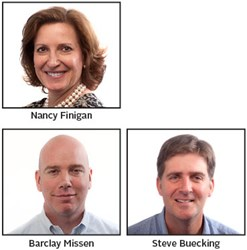 Key Promotions for Nancy Finigan, Barclay Missen, and Steve Buecking