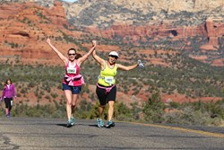 Runners and walkers enjoy red rock formation, and fun twitsts and turns on the course