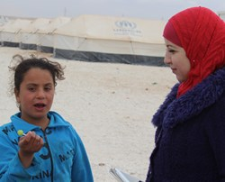 Noura Almasri in Syrian refugee camp in Jordan