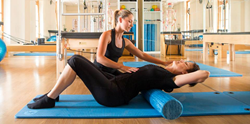 Pilates using roll mats
