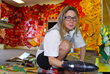 Visiting artist Lisa Hoke at work on her ARTmuse installation at SMOA (Photo Rich Schineller)