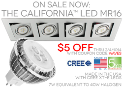 12v fixture with CA LED MR16 made in the USA 5 year warranty
