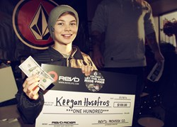 Keegan Hosefros wins the REV'D Rider award at the Volcom Peanut Butter & Rail Jam, Mt. St. Bruno