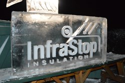 InfraStop Logo Chiseled in Ice Block
