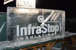 InfraStop Logo Chiseled in Ice Block