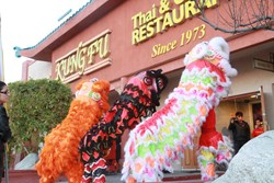 Chinese New Year in Las Vegas Lion Dance at Kung Fu thai & chinese restaurant