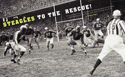 On the opening spread of AMERICA IN WWII's article on the Steagles, a Steagle defensive squad corners a Green Bay Packer in a December 1943 game at Philadelphia's Shibe Park. AMERICA IN WWII