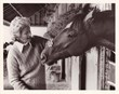 Penny Chenery and Secretariat at the barn at Belmont Park, 1973