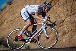 UnitedHealthcare Cycling member, Aldo Ilesic, wearing the custom Swiftwick socks the teams will be wearing for their 2014 season.