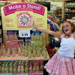 Vivienne Harr and her Make a Stand Lemon-aid store display