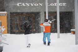 skiers at Canyon Lodge, Mammoth Mountain